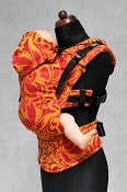 LennyLamb Ergonomic Wrap Conversion Carrier - Baby - Twisted Leaves - Red & Orange *CLEARANCE - 1st Gen.*