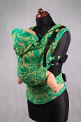LennyLamb Ergonomic Wrap Conversion Carrier - Baby - Twisted Leaves - Green & Yellow *CLEARANCE - 1st Gen.*