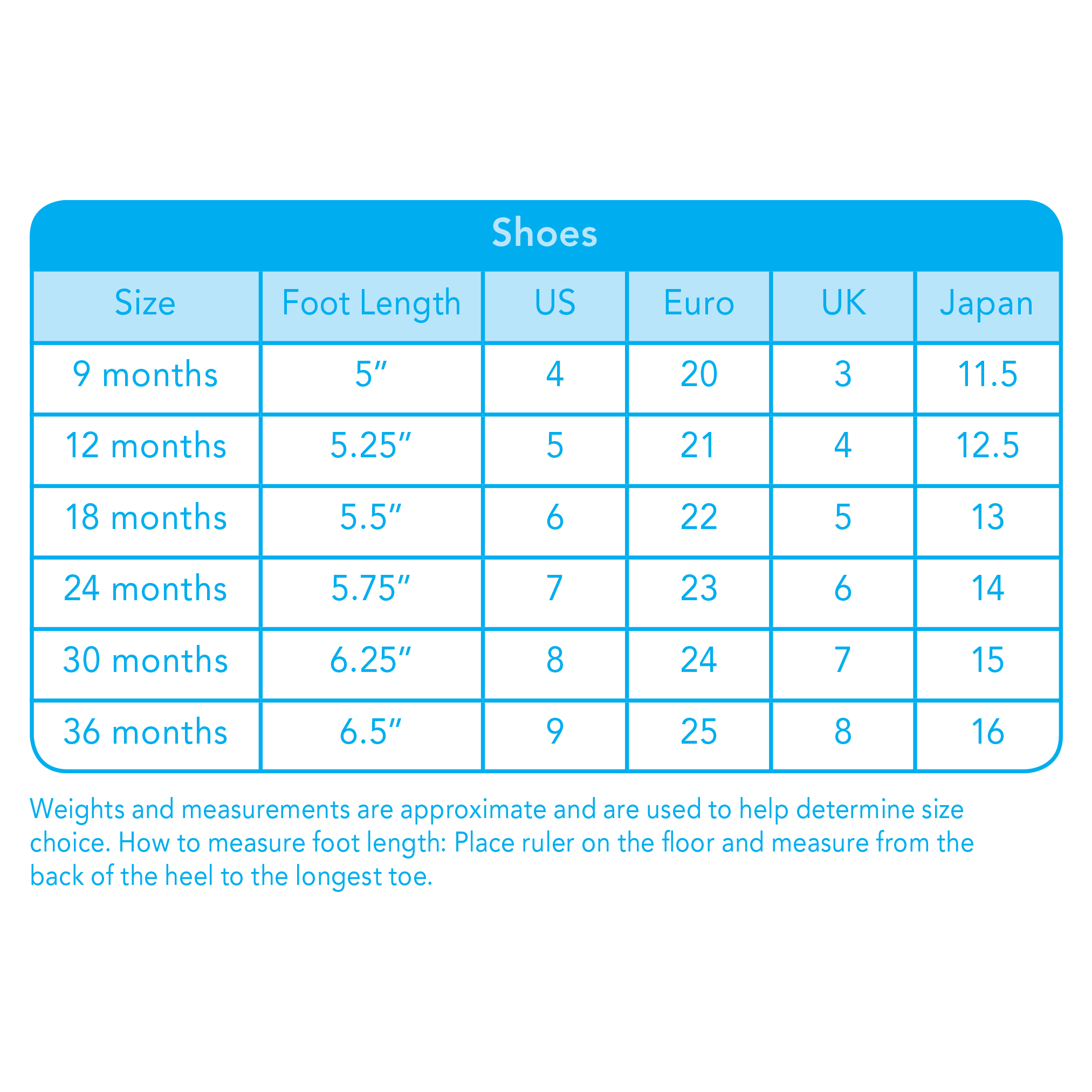 Iplay Swim Shoes Size Chart