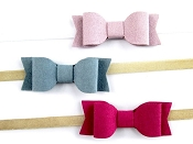 *Baby Wisp Headband Faux Suede Mia Bows - 3 Pack