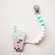 *Loulou Lollipop Bubble Tea Silicone Teether with Holder