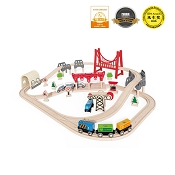 *Hape Double Loop Railway Set - 64 Piece