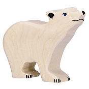 *Holztiger Head Raised Small Polar Bear