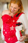 LennyLamb Ergonomic Wrap Conversion Carrier - Baby - Stars (Red & Gray)