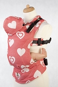LennyLamb Ergonomic Wrap Conversion Carrier - Baby - Sweetheart (Coral & Cream)