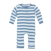 KicKee Pants Fitted Coverall - Boy Salty Sea Stripe