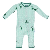 KicKee Pants Fitted Coverall - Glass Forest Monkey