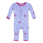 KicKee Pants Fitted Coverall - Lilac Forest Monkey