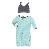 KicKee Pants Print Layette Gown & Double Knot Hat Set in Glacier Honeycomb