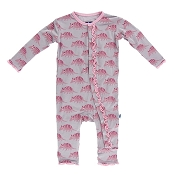 KicKee Pants Fitted Ruffle Coverall - Feather Armadillo
