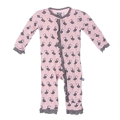 KicKee Pants Fitted Ruffle Coverall - Lotus Puffin
