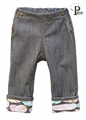 Project Pomona Eco Fit Little Hipsters Stretch Denim Jeans with Feathers Accent Cuff