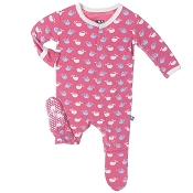 KicKee Pants Footie - Winter Rose Tiny Whale
