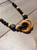 Between You and Me Wood Rings Necklace - Black