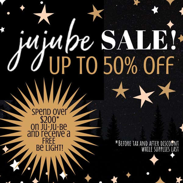 JuJuBe Black Friday weekend savings - up to 50% off and gift with purchase!