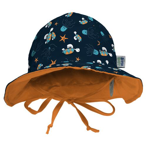 Baby Banz Reversible Sun Hat Orange Sea Creatures