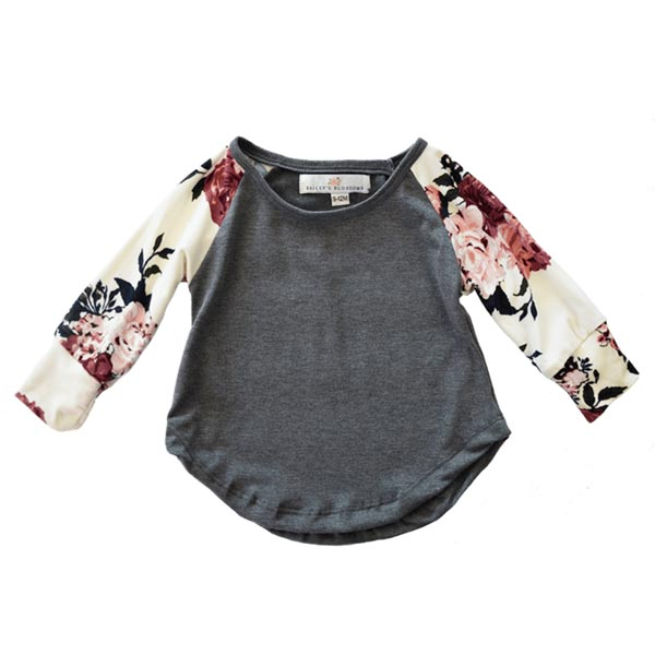 Bailey's Blossoms Jennifer Grey Raglan Floral Sleeve Top