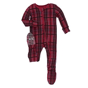 KicKee Pants Holiday Footie - Christmas Plaid (ZIPPER)