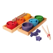 *Grimm's Sorting Game Rainbow Bowls, Tweezers & Figures