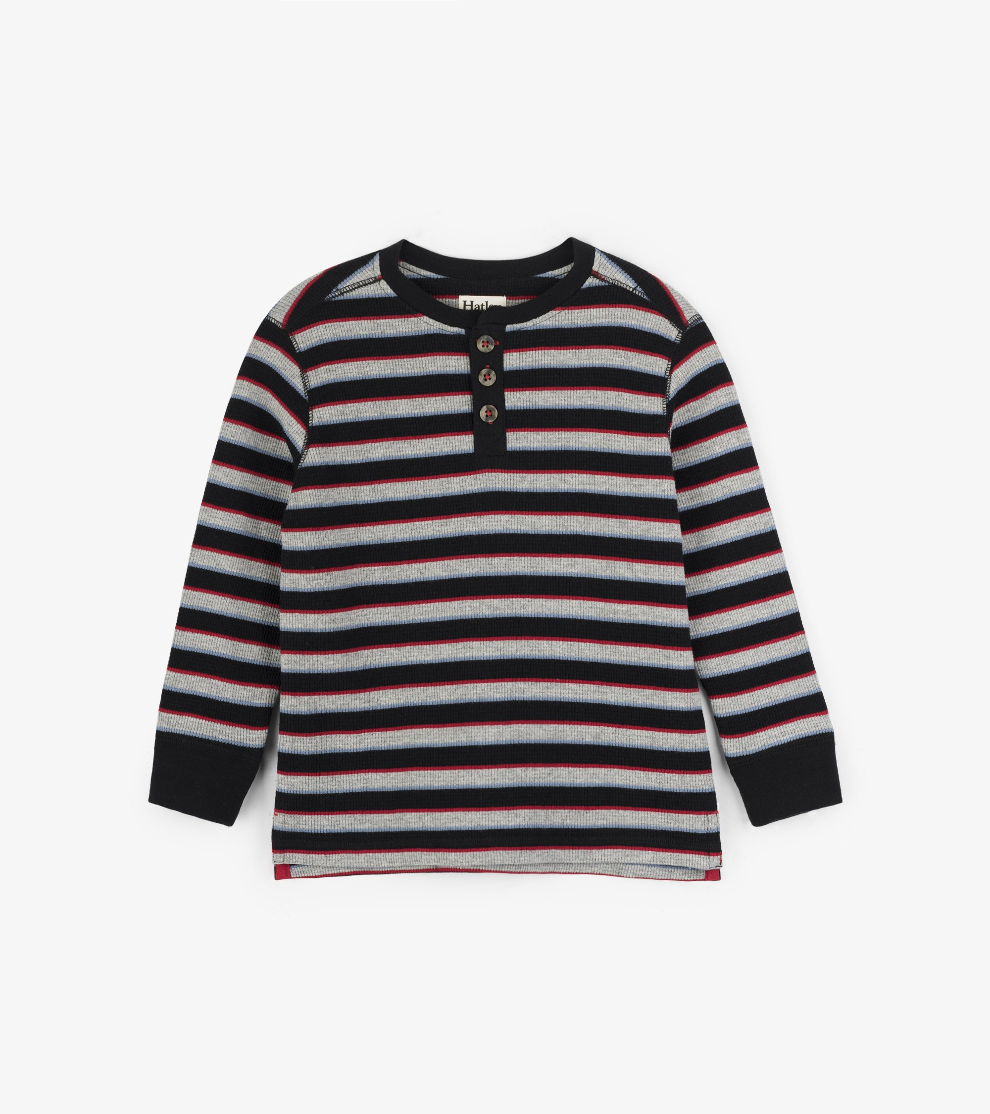 Hatley Black Striped Waffle Henley (4T) *CLEARANCE*