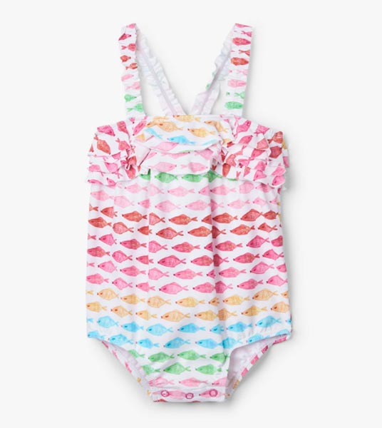 Hatley Watercolour Fishies Baby Ruffle Swimsuit *CLEARANCE*
