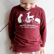 Little & Lively Fox Cranberry Pullover - Merry Christmas