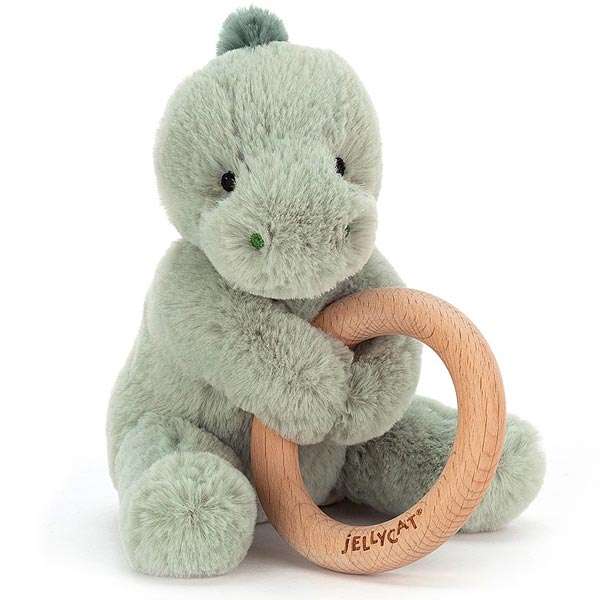 *Jellycat Puffles Dino Wooden Ring Toy - 6