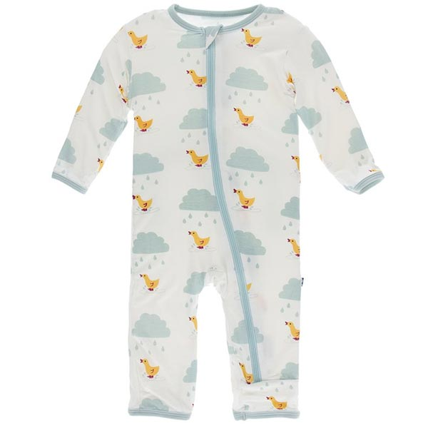 KicKee Pants Fitted Coverall - Natural Puddle Duck (ZIPPER)