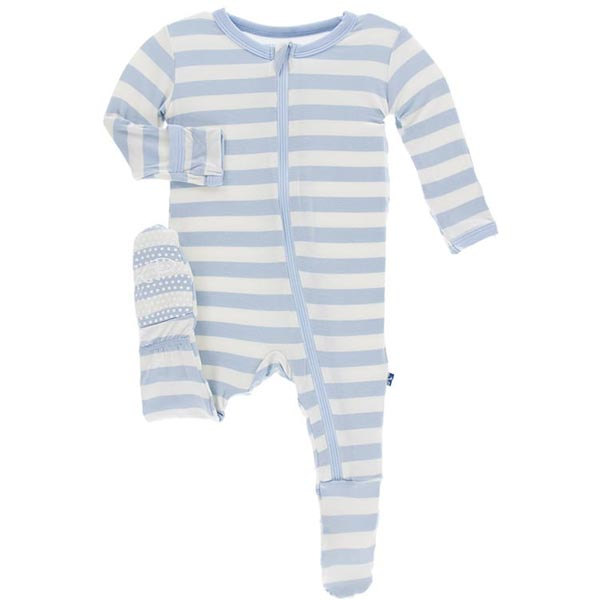 KicKee Pants Footie - Pond Stripe (ZIPPER) - 6-9 Months *CLEARANCE*