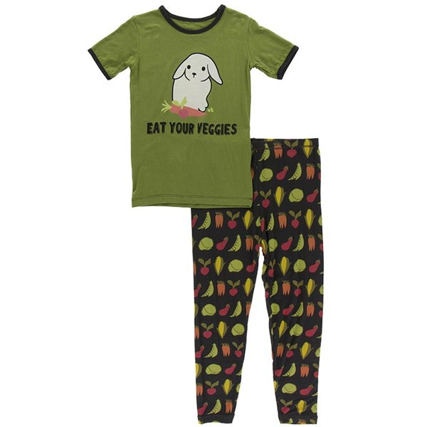 KicKee Pants Short Sleeve Pajama Set - Zebra Garden Veggies *CLEARANCE*