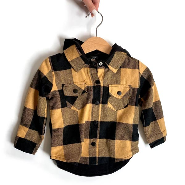 Little Bipsy Hooded Flannel - Mustard & Black