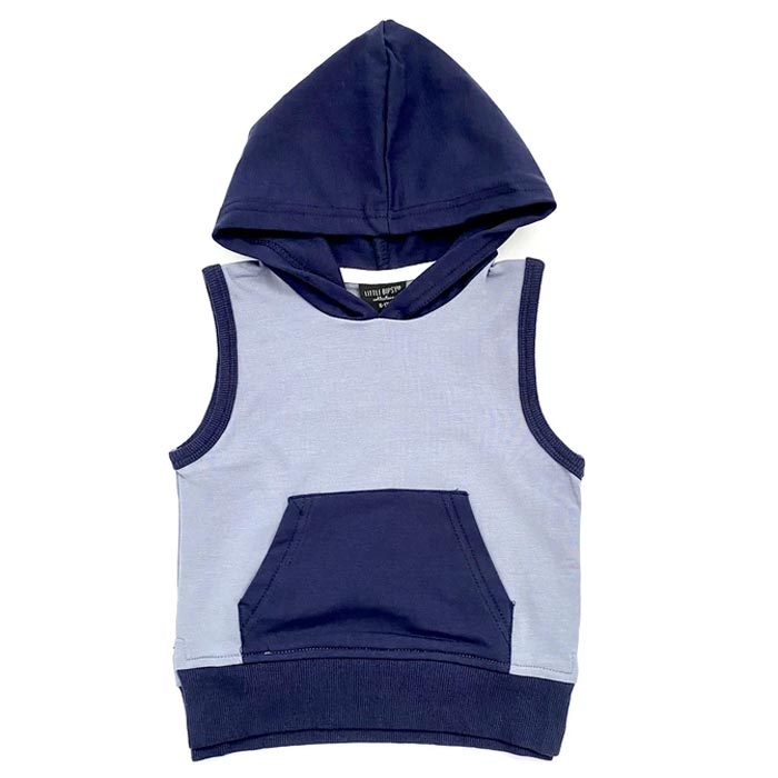 Little Bipsy Sleeveless Hoodie - Ash Blue + Navy  *CLEARANCE*