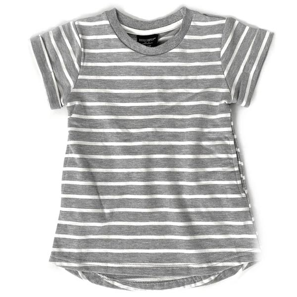 Little Bipsy Girl Swoop Dress - Grey Stripes