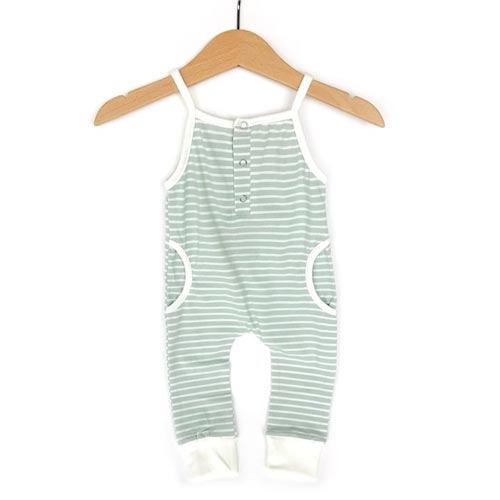 Little Bipsy Collection Tank Stripe Romper - Mint (Size 3-6 months)