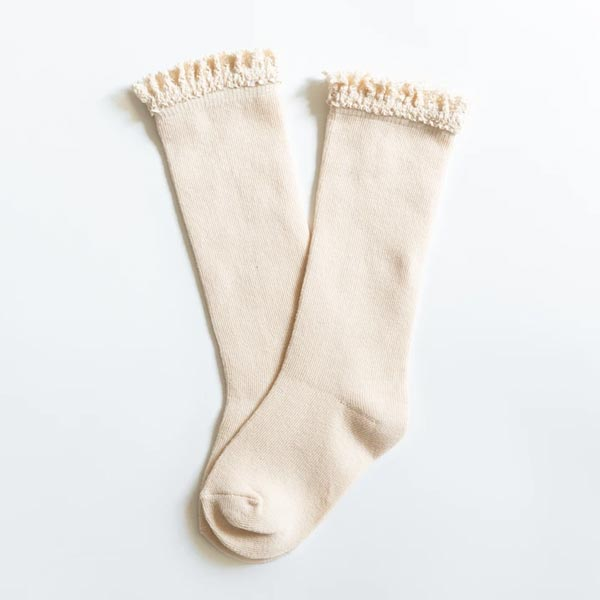Little Stocking Co. Lace Top Knee High Socks - Vanilla Cream