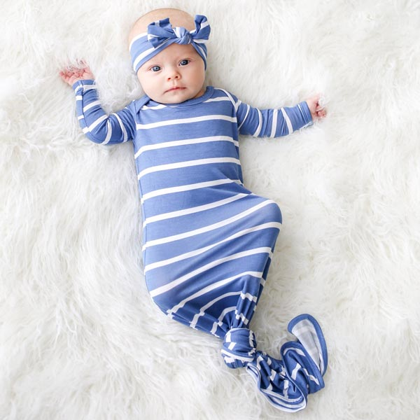 Posh Peanut Denim Blue Stripe Knotted Gown - 0-3 Months
