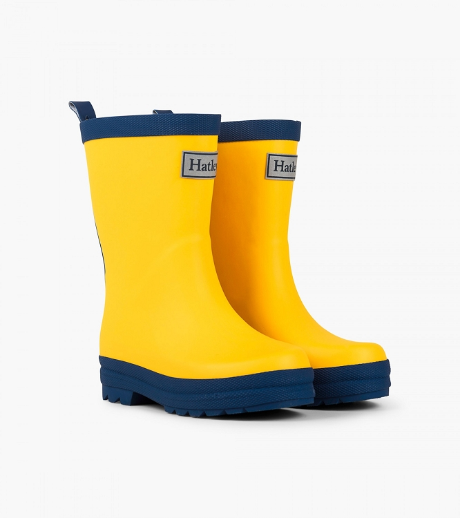 Hatley Rainboots - Yellow w/ Navy Trim (Size 12)