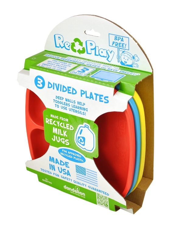 Re-Play Divided Plate - 3-Pack