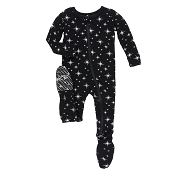 KicKee Pants Holiday Footie - Silver Bright Stars (ZIPPER)