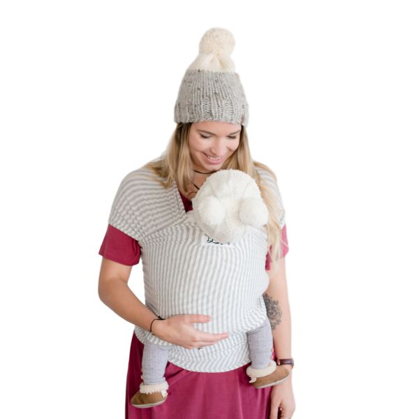 *Beluga Baby Wrap Light Grey and White Stripe - The Shannon