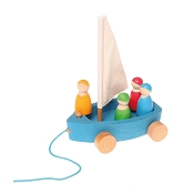 *Grimm's Large Land Yacht Pull Toy with 4 Sailors