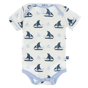 KicKee Pants Print Short Sleeve One-Piece - Natural Sailboat (size Preemie) *CLEARANCE*