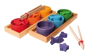 *Grimm's Sorting Game Rainbow Bowls w/ Tweezers & Figures