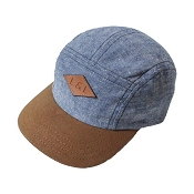 Little & Lively 5-Panel Adjustable Hat - Light Denim & Caramel