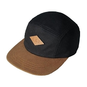Little & Lively 5-Panel Adjustable Hat - Jet Black & Caramel