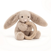 *Jellycat Bashful Beige Bunny Wooden Ring Toy