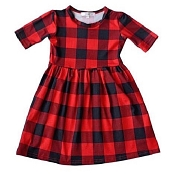 Bailey's Blossoms Red & Black Plaid Pleated Dress