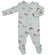 Angel Dear Footie - Wild Horses Blue (Zipper)