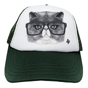 L&P Trucker Style Hat - Green Angry Cat (Size 0-6 Months)