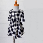 Bailey's Blossoms Harper Dress - Black & White Plaid